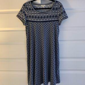Blue Patterned Short Casual Dress Large EUC